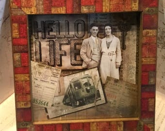 Hello Life Shadowbox Assemblage Art Mixed Media