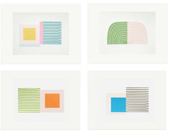 Screenprints, set of four, Mid Century Modern inspired by Emma Lawrenson. Minimalist, handmade colourful prints