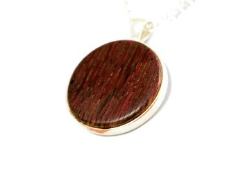 Wine Barrel Stave Pendant - Wine Stained Oak - First Run Unique Jewelry - Free Shipping
