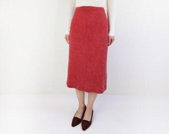 VINTAGE Angora Skirt Red Soft Knit