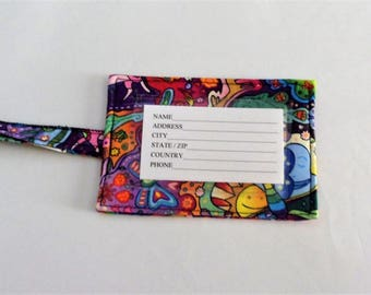 Colorful Luggage Tag Travel ID Tag Handmade Fabric Luggage ID Tag Baggage Tag Gift Card Holder Gift for Her Gift for Traveler