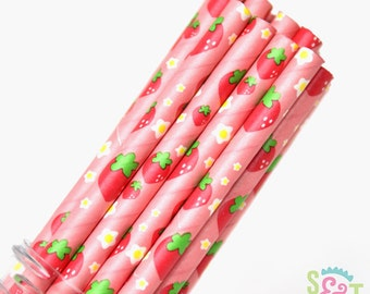 Strawberry Party Paper Straws - Cake Pop Sticks - Pixie Sticks - Qty 25