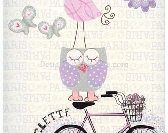 Baby girl, Nursery wall art print, Baby room decor, Paris, bike, shabby chic, vintage style nursery, light pink, purple, lavender, bicycle