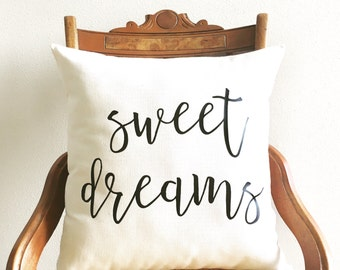 sweet dreams pillow cover, new baby gift, newborn, nursery pillow, cushion cover, kids decor, nursery decor, typography pillow cover