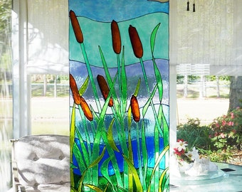Ready Now-Large Cattails and stream window cling panel, stained glass look