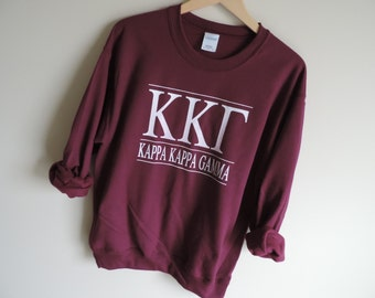 New Kappa Kappa Gamma Stripe Crewneck Sweatshirt // Size S-2XL // You Pick Color