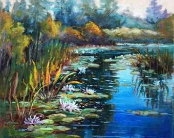 Okefenokee Swamp Painting, See Roses Painting, Lily Pads, Georgia Landscape Painting, Georgia on my Mind,  Large Painting, Blue Green, Tan