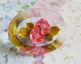 Vintage Reverse Carved Lucite Pin or Brooch Rose Blossoms 1950s