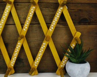 Vintage wooden folding peg rack, Hat rack