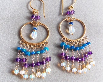 25% Off Spring Sale Ethiopian Opal and Amethyst Gold Vermeil Chandelier Earrings Shades of Opal Earrings Gift for Her