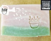 10% off SoapRepublic 'Potted plant' 20x20mm Acrylic Soap Stamp  / Cookie stamp / Clay Stamp