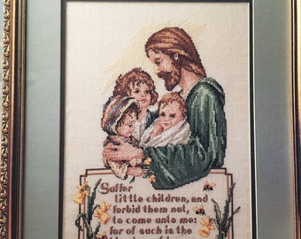 Jesus with Children Matthew 19:14 Carol Emmer Cross Stitch pattern book Leisure Arts Leaflet 2655 from 1994
