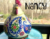 chicken, hen, rooster, bird, gourd, gourd art, painted gourd, paisley, blue, pink, green, decoration