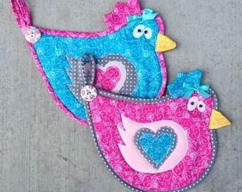 chicken, hen, rooster, bird, pot holder, hot pad, kitchen, cooking, pink, blue, gray
