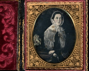 1/4 Daguerreotype - Folk Art Painting of a Woman with Flowers