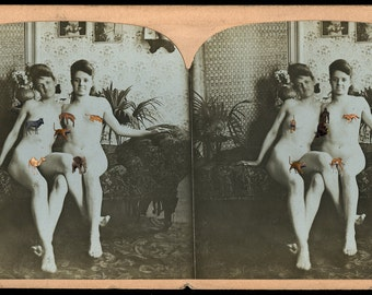 Amazing & Rare Antique 3D Stereoview Photo - Totally Nude Girlfriends!