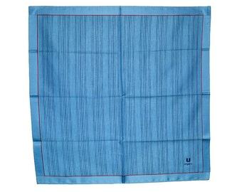 DESIGNER MEN'S HANDKERCHIEF Ungaro Medium Blue Red Border Trim Signed Cotton Twill 18 x 18 Never Used Excellent Condition