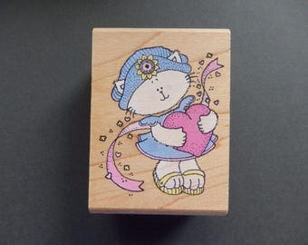 Kitten with Heart - Rubber Stampede -  WM rubber stamp (1)