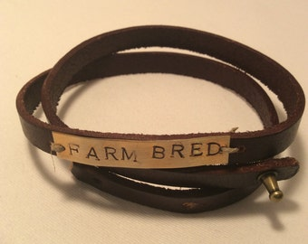 Farm Bred Stamped Leather Wrap Bracelet