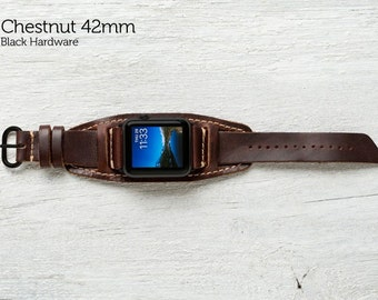 The Lowry Leather Cuff for Apple Watch Series 1 & 2 - Chestnut with Black Hardware 42mm