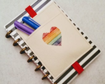 Rainbow Heart Planner Pen Holder Planner Accessories Journal Accessories Notebook Pen Case Beautifully Embroidered MAMBI Happy Planner Band