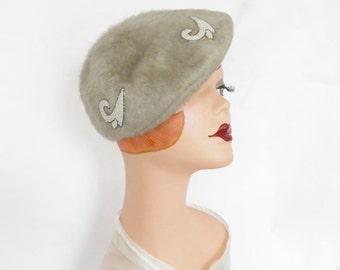 1950s gray hat, vintage tilt, faux fur, beads