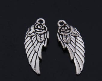 20pcs 31x11mm Antiqued Silver plated bird wings charms  findings--rose flower wings