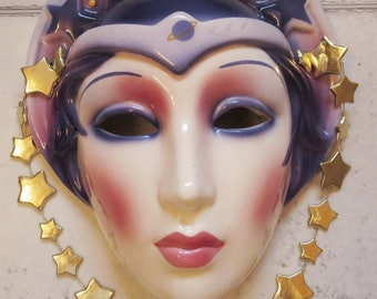 Clay Art Ceramic Face Wall Mask, Art Deco Face, Wall Hanging, Celestial