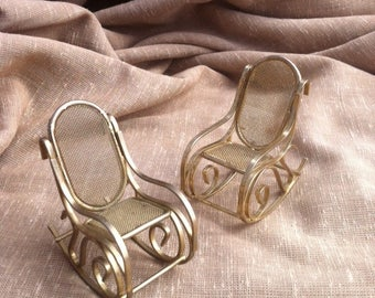 Miniature Brass Rocking Chairs - Vintage Doll House Furniture - Dollhouse Accessories