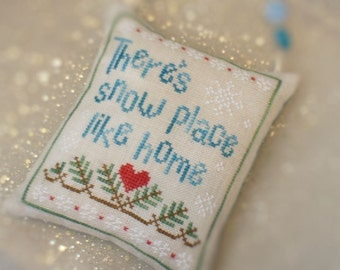 Completed Cross Stitch Christmas Tree Ornament - There's Snow Place Like Home
