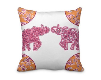 Elephant Throw Cushion Cover, Pink elephant Pillow Cover, Indian Style Pillow Cover, Indian Print Cushion Cover
