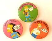 Simpsons Buttons Set of Three 1989 20th Century Fox