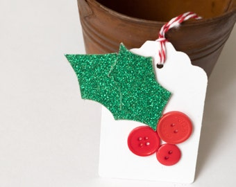 Christmas Holly Tags, White Holiday Tags, Set of Four, Tags with Buttons