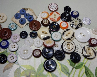 45 Antique Calico Stencil Ringer China Button Lot #1.   NDT29