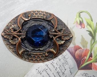 Heavy Victorian Brass Brooch or Sash Pin w/ Large Blue Center Stone & EYE Design    OAE29