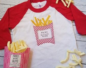 Fries before guys, Valentines day girl shirt, Valentine day baby girl, love heart, fries before boys