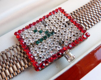Vintage Italian Designer Idemaria Faux Watch Bracelet with Swarovski Crystals Made in Italy
