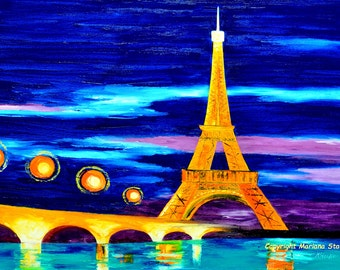 "cityscape paintings blue night river eiffel tower lights paris architecture art original oil on canvas textured 24x36"" Mariana Stauffer"