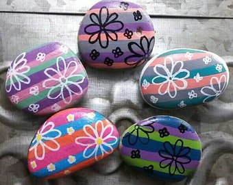 Painted rock painted stone floral flower stripe refrigerator magnets colorful decor