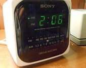 SONY DREAM Machine, AMFM Clock Radio, White Cube Classic Collectible, Electric or Battery Operated icf-c120 Everything Clean & Works Fine