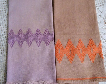 2 Lilac & Mauve HUCK TEA TOWELS Orange and Purple Geo Swedish Embroidery Designs, Sturdy Washable Cotton 16 x 24 Vintage Handmade Guest