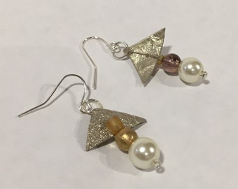 Triangular silk cocoon earrings (one of a kind)