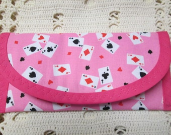 Pink Playing Card Fabric, Bags & Purses 7 x 3 Wallet money clip, Clutch Envelope Handbag accessory Women Girls teens Pink lined, games