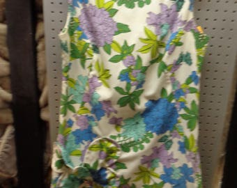 VINTAGE 1960's Multicolor Flowered Sleeveless Shift Dress by Sport Trio - Free Shipping (available)