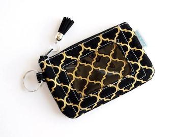 Teacher Gift for Her - Badge Holder Wallet - Slim Wallet Women - Mini Keychain Wallet - Black Wallet - Handmade by Zookaboo - Ready to Ship