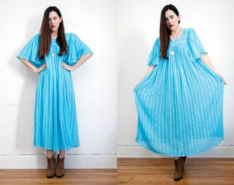 Vintage Indian Gauze Cotton Grecian Cheese Cloth Boho Tunic Smock Navajo Hippie Maxi Dress