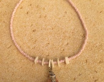 3 Pink/White Scallop Shells Mermaid Anklet