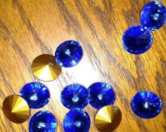 14mm Swarovski crystal Rivoli sapphire