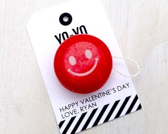 Yo-Yo Valentine's Favor Tag   Punny Valentine's   Classroom Treat Labels   Valentine's Day   Printable   Hearts   Toy   Treat Tags
