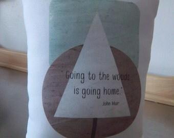 Scandinavian nursery pillow woodland throw pillow John Muir quote cushion white baby room decor aqua plum toddler birthday gift modern decor